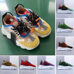 Mens gold link flat chain online shopping - Yellow Chain Reaction Sneaker Trainers Mens Womens Sneakers Light Weight Chain Linked Rubber Sole Shoe Designer sneakers Fashion Shoes