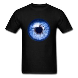 blue shirt design man Australia - 3d Real Blue Eye Print Men Black T-shirt Awesome Funky Design Short Sleeve Adult Tops Tees College Fashion Team Shirts