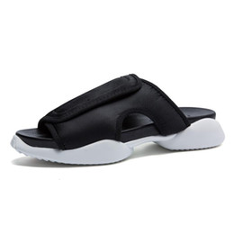 Discount b mat - Wholesale-2016 Fashin Men's Personality Street Sandals Slippers Leather Mat Horseshoe Sandalias Hombre Air Cushion