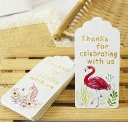 gift tags labels 2019 - Unicorn Flamingo Paper Gift Tags Thank You White Paper Tags Party Decoration Gift Hang Tag Craft Cards Label cheap gift