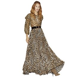 $enCountryForm.capitalKeyWord NZ - animal print pleated long summer maxi dress tie bow o-neck 3 4 sleeve wide leather belt floor length leopard dress woman dress