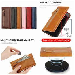 black leather slim wallet NZ - Suck Magnetic PU Leather Wallet Case For Iphone 11 Pro XS MAX XR X 10 8 7 6 Zipper Slim Closure Flip ID Card Slot Magnet Holder Cover Pouch
