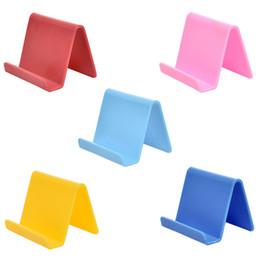 Kunststoff-Handyhalter fester Halter Candy Farbe Küche Veranstalter Mini tragbare Visitenkartenhalter Handy Ständer Haushalt hx0039