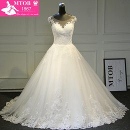 $enCountryForm.capitalKeyWord NZ - Elegant A-line Lace Wedding Dress 2019 Chapel Train Satin Bride Dresses Vintage Vestido De Noiva Renda Mtob1722 Y19072901