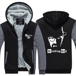 Broken Bad Australia - Men Casual Thicken Hooded Sweatshirts Breaking Bad Heisenberg figure Print Cotton Zipper Hoodies Winter Cardigan Jacket Coat USA EU Size