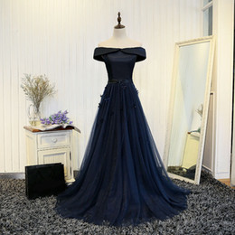 portrait 3d UK - 2019 Elegant Dark Navy Blue Tulle Long Evening Dresses With 3D Flower Evening Gowns Boat Neck Off Shoulder 2017 Vestido De Noche