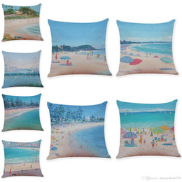 Weave Oil Australia - Oil Painting Summer Beach Linen Cushion Covers Home Office Sofa Square Pillow Case Decorative Pillow Covers Without Insert(18*18Inch)
