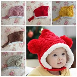 d2274edfd0e Baby Pom Poms Ball Ear cap Kids Beanies Warm Knitted plush Hats cartoon  warmer Winter crochet Hairball Hat 20pcs AAA1609