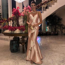 light up bow tie 2019 - New Mermaid Prom Dresses Long Spaghetti Bow Tie Belt Ruffles Formal Evening Party Gowns discount light up bow tie