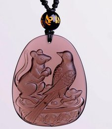 Carved Jade Red Pendants Australia - Handmade work beautiful natural Ice carved obsidian lucky Picapica rat birds amulet pendant + fine necklace fashion jewelry