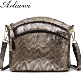 Black Gold Australia - Arliwwi High Quality Real Soft Leather Black Gold And Silver Women Messenger Bags Lady Shiny Genuine Cowhide Cross Body Handbags Y19061301
