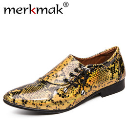 patterned bowtie Australia - 2019 New Autumn Merkmak Classic Snake Pattern Dress Shoes Fashion Lace-up Suit Footwear Pointed Toe Formal Shoes Big Size 39-46