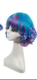 gradient color wig 2019 - WIG lolita blue&purple gradient full wig curly short Ombre hair cosplay costume discount gradient color wig