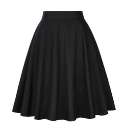 Wholesale sundresses plus sizes for sale – plus size Women High Waist A line Skirt Casual Sundress Solid Wave Dot Cherry Pleated Sweet Skiirts Plus Size XXL