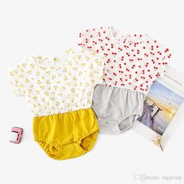 $enCountryForm.capitalKeyWord Australia - INS New High-end 100% Cotton Toddler Baby Girl Rompers Ruffles Fly Short Sleeve Cherry Printing Patchwork Jumpsuit Newborn Onesies for 3-18M