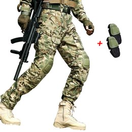Camouflage Combat suit online shopping - Outdoor Tactical Mens Hunting Clothing Combat Hunting Clothes Army Camouflage Tatico Pants With Knee Pads Ghillie Suit