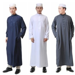 $enCountryForm.capitalKeyWord Australia - 7Color Islamic Clothing for Men Jubba Thobe Muslim Abaya Dubai Kaftan Prayer Robes Arab Eid Costume Man Muslim Clothes Thobe