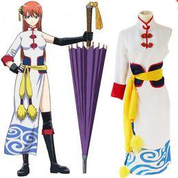 kagura cosplay 2019 - Japanese Hot Animation GINTAMA Kagura Cosplay Dress Chinese Dress Costumes Sets Halloween Carnival costumes cheap kagura