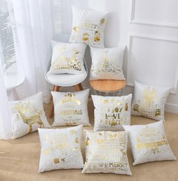 $enCountryForm.capitalKeyWord Australia - Bronzing Happy Merry Christmas Cushion Cover Gold Printed Pillow Cover Pillow Cases Sofa Pillowcase Soft Gold Stamping Pillow Cover