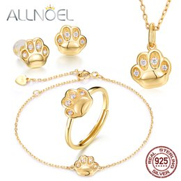 Discount diamond necklace bracelet ring set - ALLNOEL Silver 925 Jewelry Sets For Women Zircon Diamond Cat Claw Ring Earrings Necklace Bracelet Argent A925 Bijoux Fem