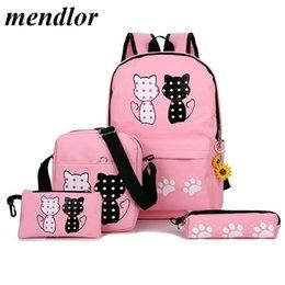 $enCountryForm.capitalKeyWord Australia - 2019 New Fashion Canvas Backpack Schoolbags Set For Girls Teenagers Casual Children Travel Bags Rucksack Cute Cat Printing