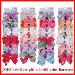 $enCountryForm.capitalKeyWord Australia - 2019 JOJO SIWA LARGE Rainbow HAIR BOW Hair clips and sequin logo baby girl Children Hair Accessories 36 colors fashion hairs clip 4inch