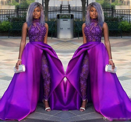 Short pleated chiffon draping dreSSeS online shopping - 2019 Classic Jumpsuits Prom Dresses With Detachable Train High Neck Lace Appliqued Bead Evening Gowns Luxury African Party Women Pant Suits