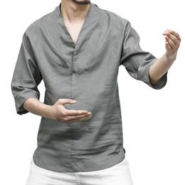 $enCountryForm.capitalKeyWord Australia - Summer Shirt Men Plus Size Vintage Linen Shirt Men Linen Olor Loose V Neck Blouse Shirts White Modis Clothing Camisa Masculina