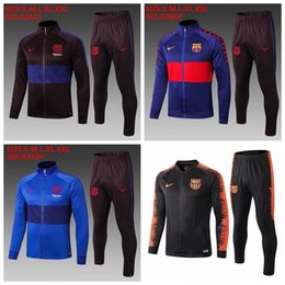 Panting kit online shopping - 2020 Spain Barcelona Soccer Jacket Tracksuit Blue Top Quality PRE MATCH Winter Barcelona Training Football Jacket Pants Kit A869