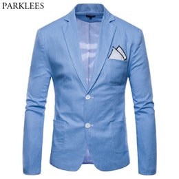 Slim Jackets For Boys Australia - Men's Cotton Linen Lightweight Blazer Jacket Brand Slim Fit Single Breasted Costume Homme Casual Party Blazer for Male Youth Boy