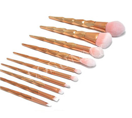 Gold Brush Makeup Australia - Makeup Brush 10pcs Set Professional Blush Powder Makeup Brush Eyebrow Eyeshadow Lip Nose Rose Gold Blending Make Up Brush Cosmetic Tools 1se