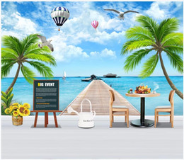 beach wallpaper for home Australia - Customized 3D photo murals wallpaper for walls 3d Mediterranean tree beach balloon mural background wall papers home decor