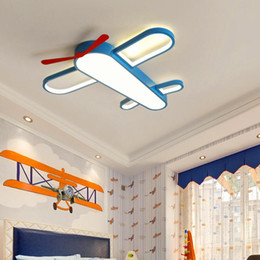 boy room bedding UK - Children's room LED ceiling lamp Warm cartoon airplane bedroom boys and girls room lamps eye protection dimming wrought iron lights
