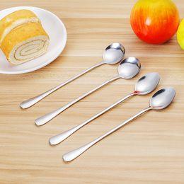 Steel Kitchen Utensil Sets Australia - 2PCS Set Stainless Steel Coffee Stirring Spoon LongHandle Ice Cream Spoon Sharp Round Head Classical Soup Kitchen Utensil