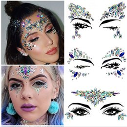 Wholesale 1Pcs Face Body Art Adhesive Crystal Glitter Jewels Festival Party Eyes Tattoo Stickers Makeup Xmas Decor Party decoration