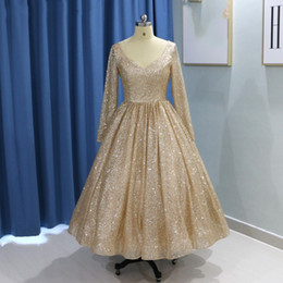 $enCountryForm.capitalKeyWord Australia - Vintage Gold Long Sleeve Prom Dresses 2019 Glitter Tea Length Ball Gown Party Dress Short Homecoming Dresses robe de soiree Graduation Dress