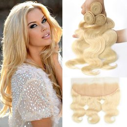 Indian Remy Hair Body Wave Australia - Indian Remy Human Hair Bundles With 13X4 Lace Frontal 4 Pieces lot Body Wave 613# Blonde Bundles With 13*4 Frontal Ear To Ear Pre Plucked