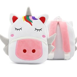 nylon straw UK - Children School Backpack Cartoon Rainbow Unicorn Design Soft Plush Material For Toddler Baby Girls Kindergarten Kids School Bags