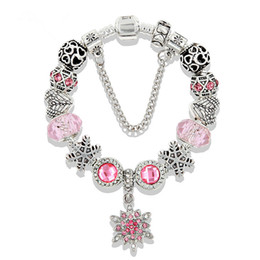 snowflake jewelry crystal set NZ - Pink snowflake pendant Bracelet for Pandora Style Crystal Jewelry Wholesale