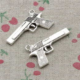 Browning Pendants Australia - 52pcs Charms gun browning pistol 45*20mm Pendant, Tibetan Silver Pendant,For DIY Necklace & Bracelets Jewelry Accessories