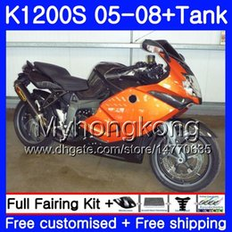 fairing bmw k NZ - Body +Tank Orange black For BMW K1200 S K 1200 S K1200S 05 06 07 08 09 10 311HM.20 K-1200S K 1200S 2005 2006 2007 2008 2009 2010 Fairings