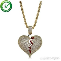 $enCountryForm.capitalKeyWord NZ - Hip Hop Jewelry Iced Out Pendant Necklace Mens Gold Chain Pendants Bling Diamond Luxury Fashion Solid Heart Break Micro Pave CZ Lover Gift