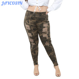 Discount woman sexy denim clothing - JAYCOSIN Clothes Women Plus Size Stretch Camouflage Denim Jeans Ladies Fashion Slim Skinny Sexy Hole Ripped Pencil Pants