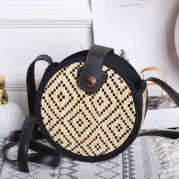 black weaves Canada - Bamboo woven round PU leather buckle black and white checkered woven bag ladies summer beach bag messenger 2020 bohemian