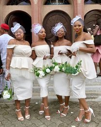Ivory damas dresses online shopping - New Cheap Simple Afrian Mermaid Tea Length Bridesmaid Dresses Off Shoulder Tulle Cheap Maid Of Honor Gowns vestidos de damas de honor