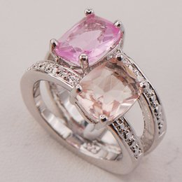 morganite sterling silver rings Australia - Fashion Jewelry Rings Pink Crystal Zircon Morganite Women 925 Sterling Silver Ring F786 Size 6 7 8 9 10