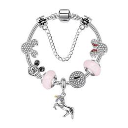 $enCountryForm.capitalKeyWord Australia - High quality Charm Bracelet 925 Silver Women Unicorn Bracelets chain Bangle cuff Fashion Jewelry Gift Big hole bead Bracelet Valentine's Day