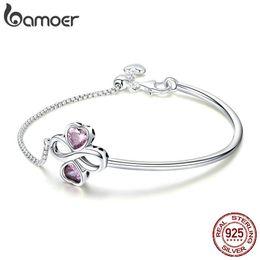 $enCountryForm.capitalKeyWord Australia - Bamoer 925 Sterling Silver Elegant Clover Love Pink Cz Bracelets & Bangles For Women Original Sterling Silver Jewelry Scb092 Y19051002