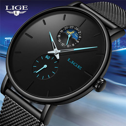 $enCountryForm.capitalKeyWord Australia - LIGE Watch Quartz Casual Black Waterproof Stainless Steel Watch Ultra Thin Male Clock 24 Hours 2019 Relogios Masculino+Box