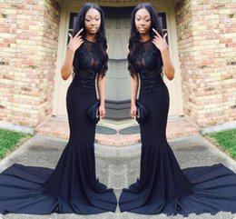 White classic graduation dress online shopping - 2019 New Sexy African Black Mermaid Prom Dresses Court Train Satin See Through Long Evening Gowns Graduation Party Dress